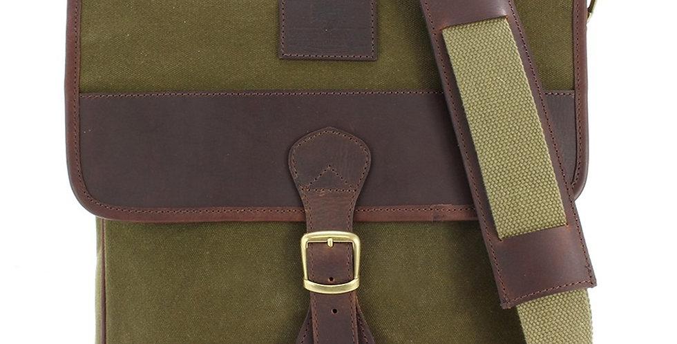 Green Waxed Canvas Crossbody Bag