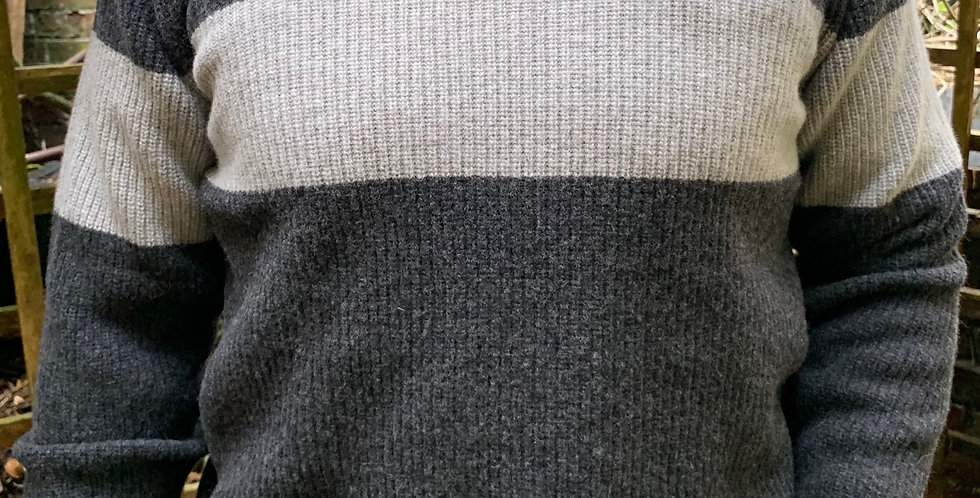 Charcoal & Grey Stripe Ribbed Crew Neck Jumper
