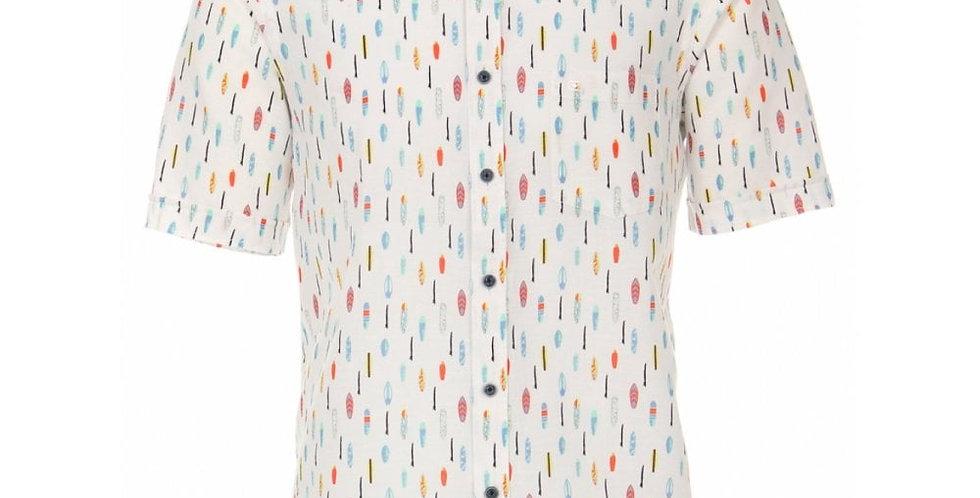 White Linen Surf Board Short Sleeve Shirt