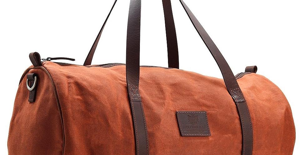 Orange Waxed Canvas Barrel Bag