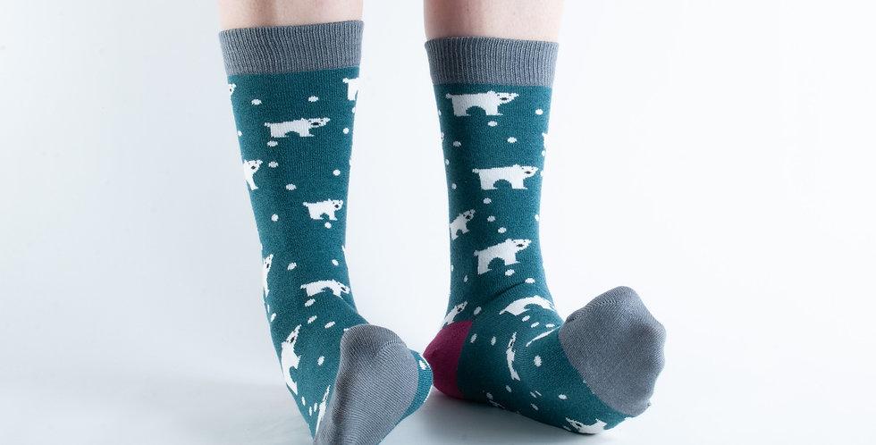Size 3-7 Teal Polar Bear Bamboo Socks