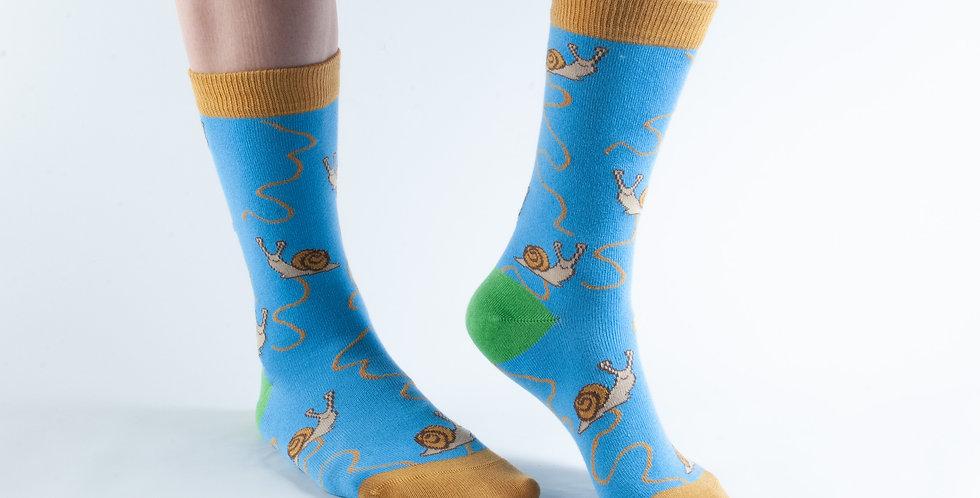 Size 3-7 Blue Snail Bamboo Socks