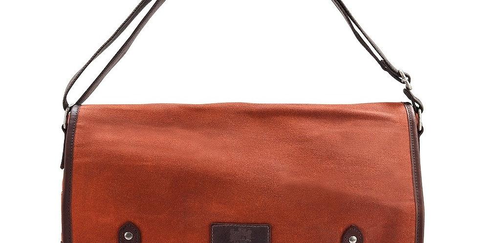 Orange Waxed Canvas Messenger Bag
