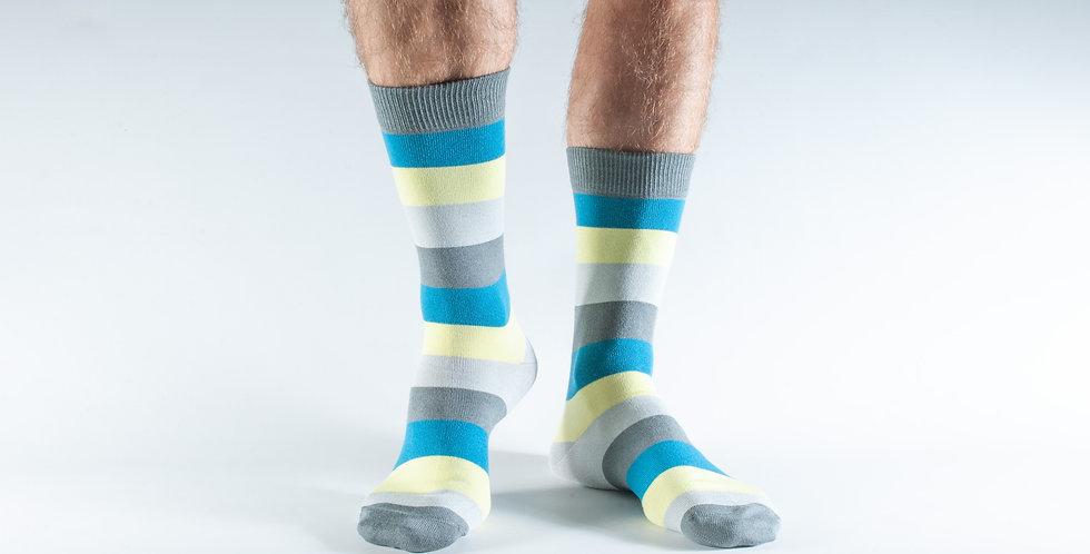 Size 7-11 Lime Stripe Bamboo Socks