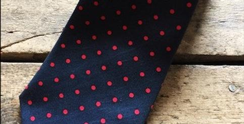 Navy & Red Spot Silk Tie