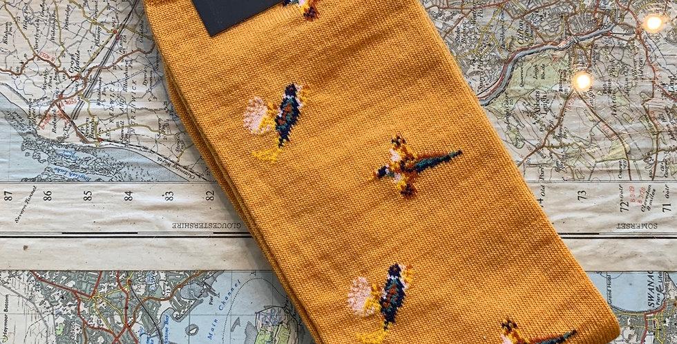 6-11 Yellow Pheasant Socks