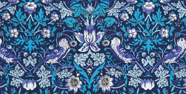 Liberty Print Blue 'Strawberry Thief' Pocket Square
