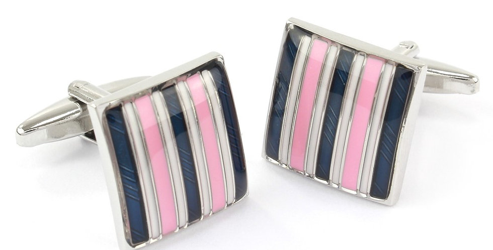 Navy & Pink Stripe Square Cufflinks