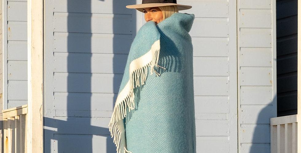Turquoise Herringbone Wool Blanket