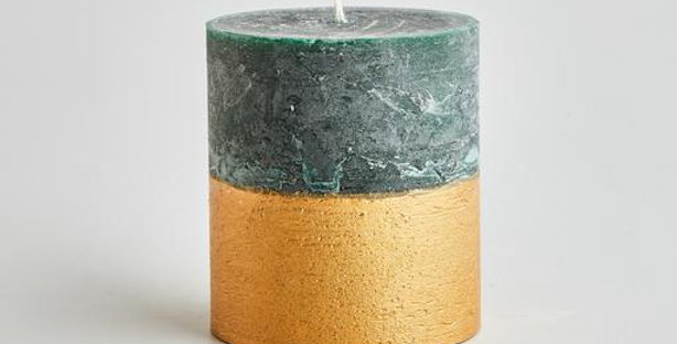 Winter Thyme Gold Half Dipped Pillar Candle