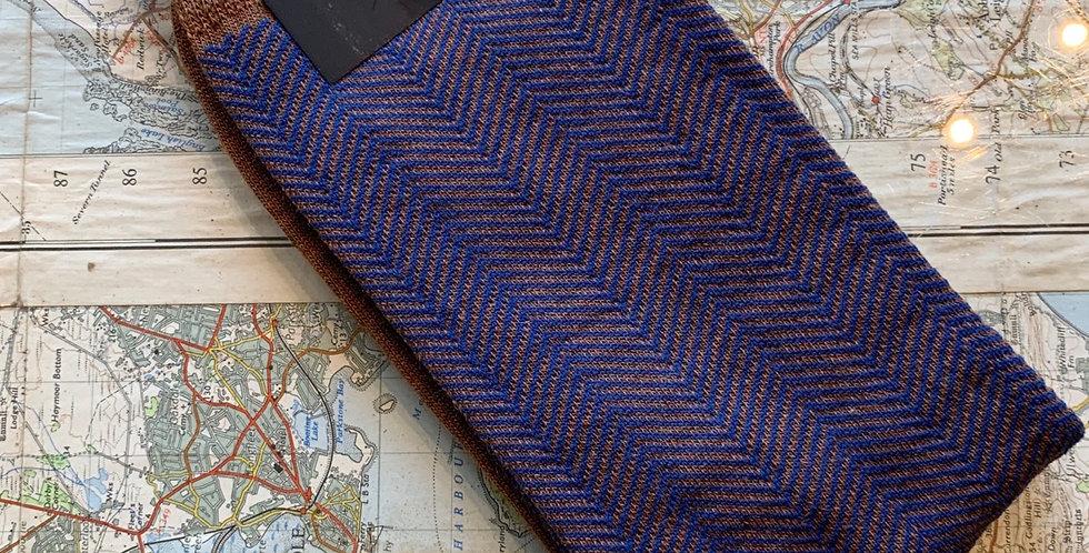 6-11 Blue Herringbone Socks