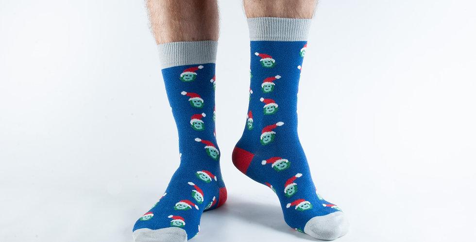 Size 7-11 Navy Xmas Sprout Bamboo Socks
