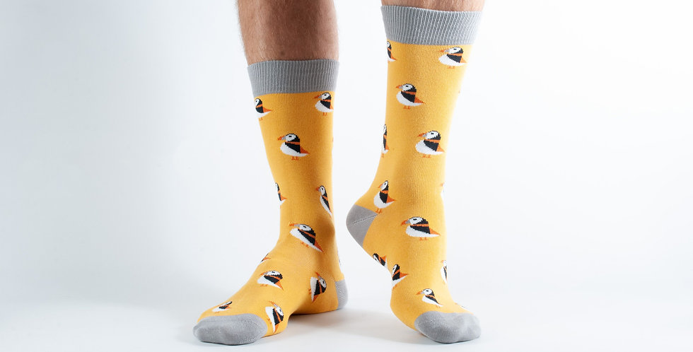 Size 7-11 Gold Puffin Bamboo Socks