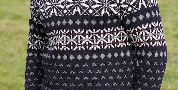 Navy Fair Isle Patterned Crew Neck Jumper