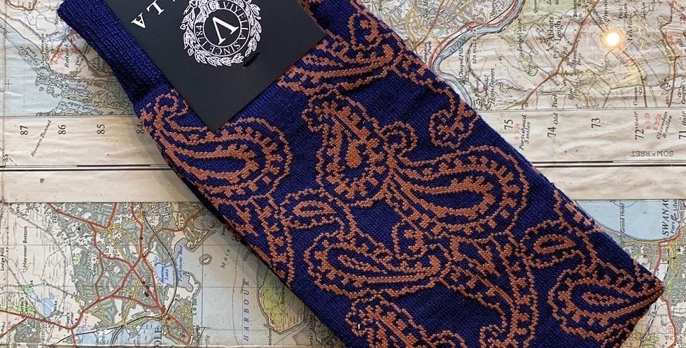 6-11 Blue Paisley Socks