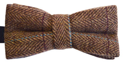 Brown Check Wool Mix Bow Tie
