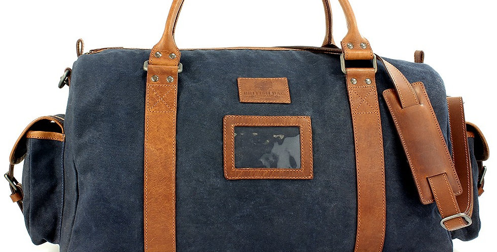 Navy Waxed Canvas Weekend Bag