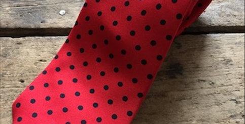 Red & Navy Spot Silk Tie