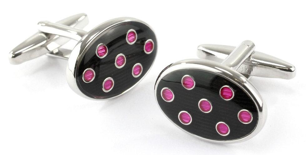 Navy & Pink Spot Oval Cufflinks