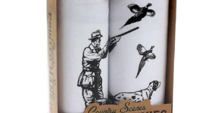 'Pheasant over' Hankies Set