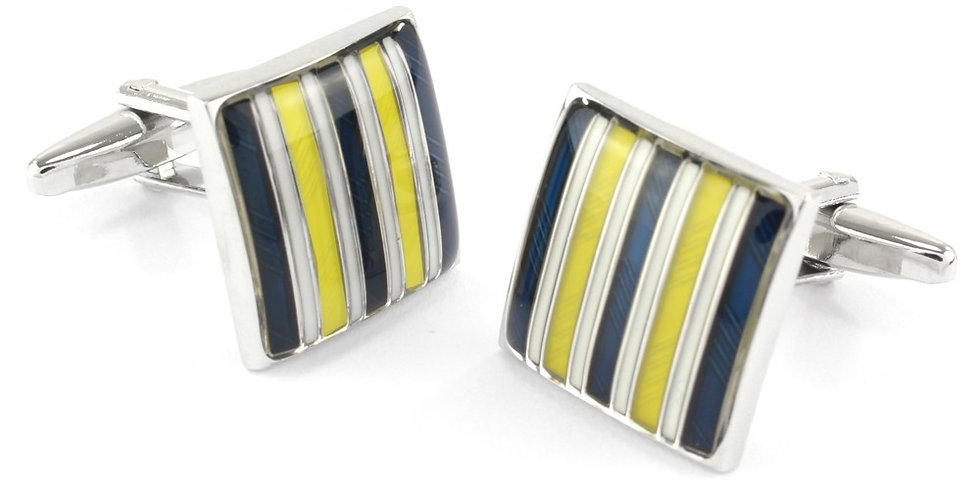 Navy & Yellow Stripe Square Cuffinks