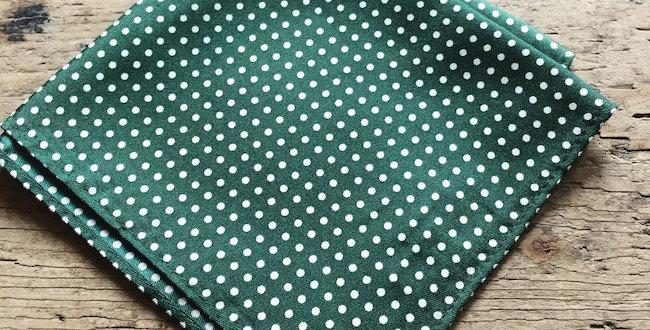Green & White Small Spot Silk Pocket Square