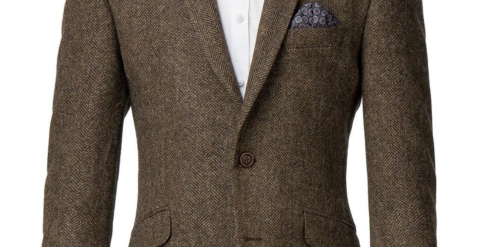 Tan Herringbone Tweed Jacket