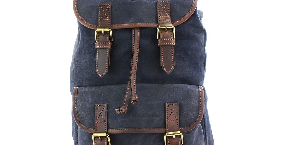 Navy Waxed Canvas Rucksack