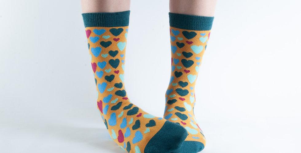 Size 3-7 Gold Hearts Bamboo Socks