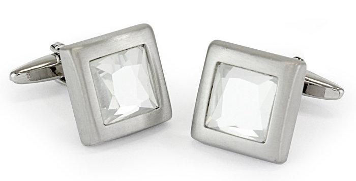 Clear Crystal Stone Cufflinks
