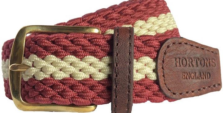 Burgundy & Cream Striped Woven Belt