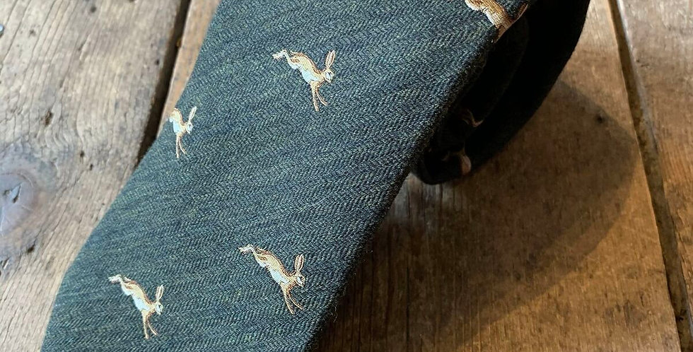 Green Hare Embroidered Tie