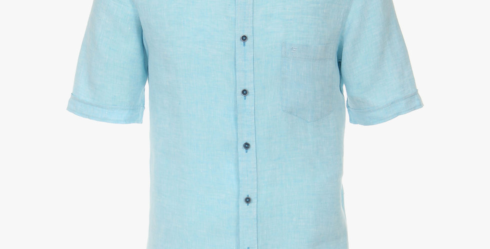 Turquoise Linen Short Sleeve Shirt