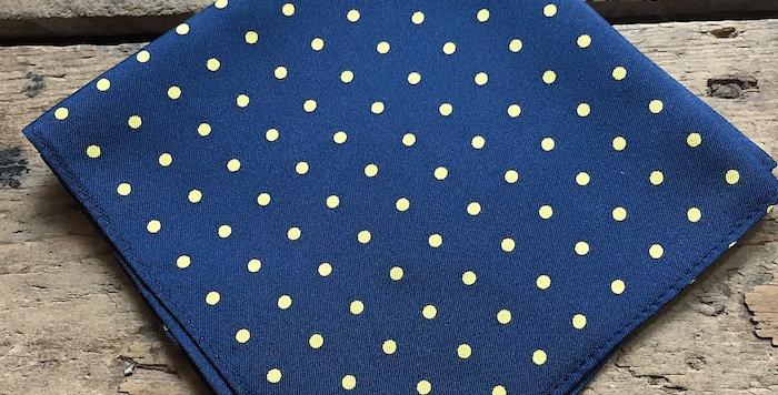 Navy & Yellow Spot Silk Pocket Square