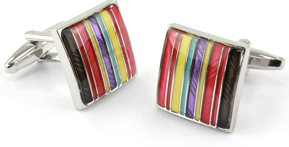 Multi Red Stripe Square Cufflinks