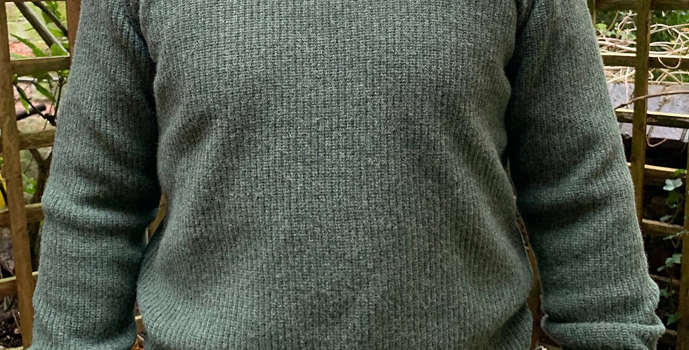 Forest Green Ribbed Crew Neck Jumper