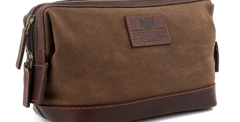 Brown Waxed Canvas Washbag