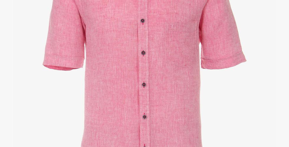 Pink Linen Short Sleeved Shirt