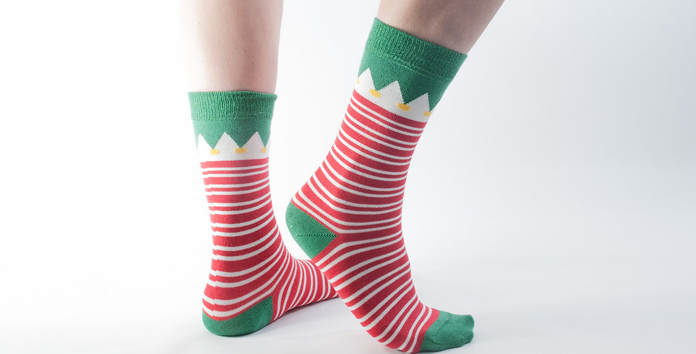 Size 3-7 Xmas Red Elf Bamboo Socks