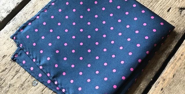 Navy & Pink Spot Silk Pocket Square