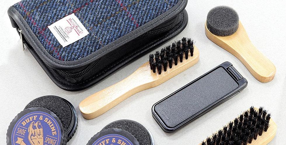 Blue Check Harris Tweed Shoe Kit