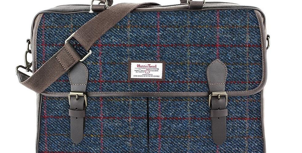 Navy Harris Tweed Messenger Bag