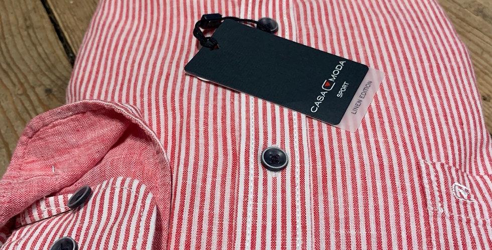 Red Striped Linen Mix Long Sleeved Shirt
