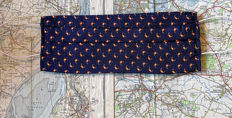 Navy With Orange Crabs Silk Face Mask