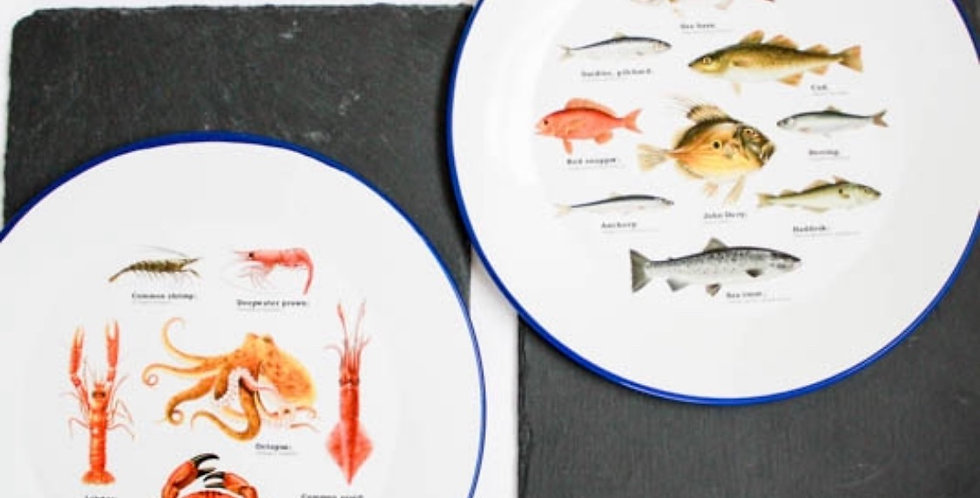 Set Of Two Sea Life Enamel Plates