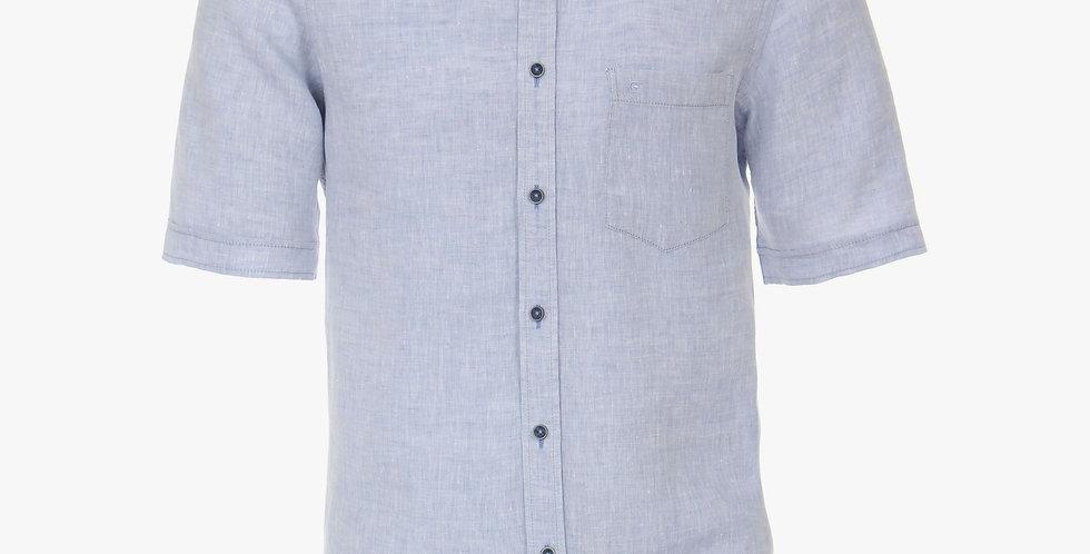 Pale Blue Linen Short Sleeved Shirt