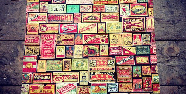 Black Vintage Match Box Wrapping Paper