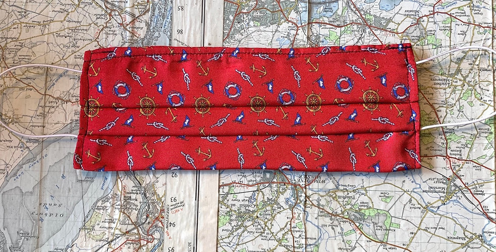 Red 'Boating' Silk Face Mask