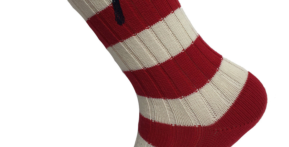 Red & Cream Striped Thick Socks