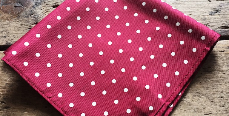 Burgundy & White Spot Silk Pocket Square